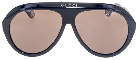 Gucci GUCCI 0479 Black Brown Aviator Vintage Unisex Sunglasses GG0479S Image 1