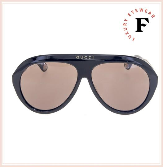 Gucci GUCCI 0479 Black Brown Aviator Vintage Unisex Sunglasses GG0479S Image 3