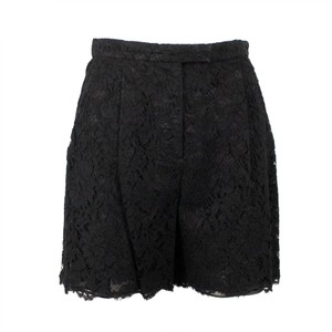 Valentino Floral Lace Cotton Viscose Pleated Mini/Short Shorts Black