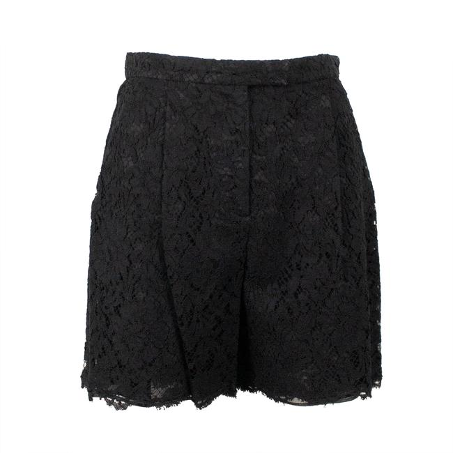 Valentino Floral Lace Cotton Viscose Pleated Mini/Short Shorts Black Image 0