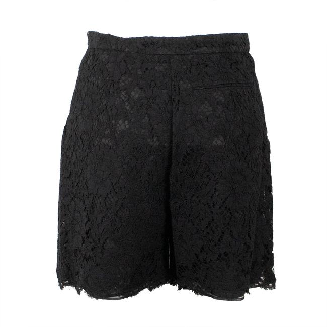Valentino Floral Lace Cotton Viscose Pleated Mini/Short Shorts Black Image 1
