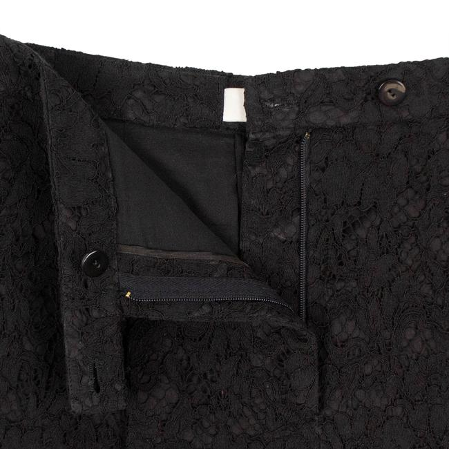 Valentino Floral Lace Cotton Viscose Pleated Mini/Short Shorts Black Image 3
