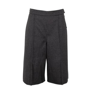 Valentino Wool Piped Detail Wide Classic Dress Shorts Gray