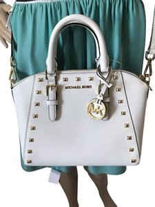 Michael Kors Ciara Medium Studded Ciara Satchel in White