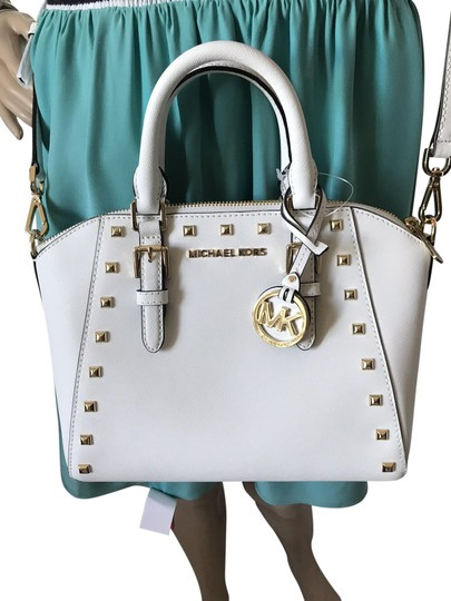 Preload https://img-static.tradesy.com/item/25658399/michael-kors-medium-studded-ciara-white-saffiano-leather-satchel-0-1-540-540.jpg