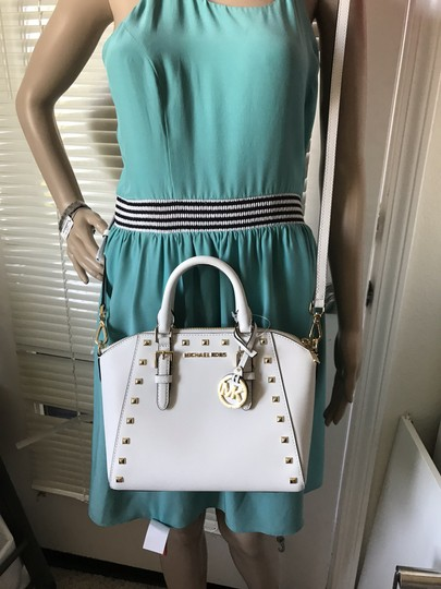 Michael Kors Ciara Medium Studded Ciara Satchel in White Image 1