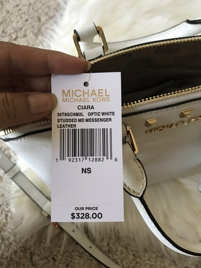 Michael Kors Ciara Medium Studded Ciara Satchel in White Image 11