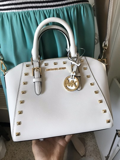 Michael Kors Ciara Medium Studded Ciara Satchel in White Image 2