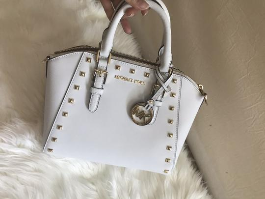 Michael Kors Ciara Medium Studded Ciara Satchel in White Image 3