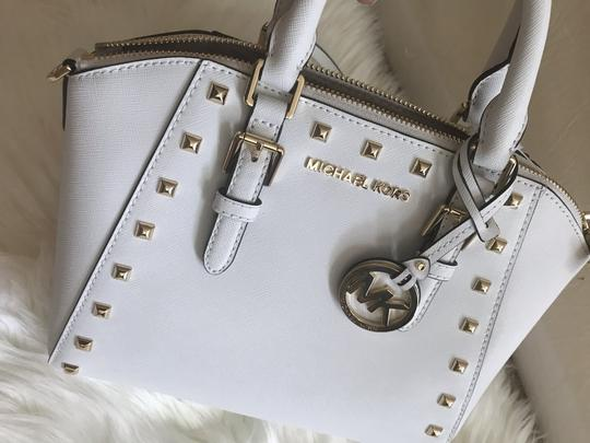 Michael Kors Ciara Medium Studded Ciara Satchel in White Image 4