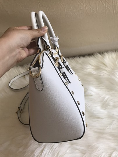 Michael Kors Ciara Medium Studded Ciara Satchel in White Image 5