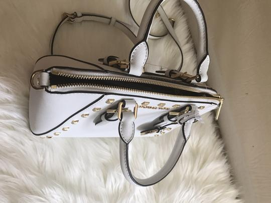 Michael Kors Ciara Medium Studded Ciara Satchel in White Image 6