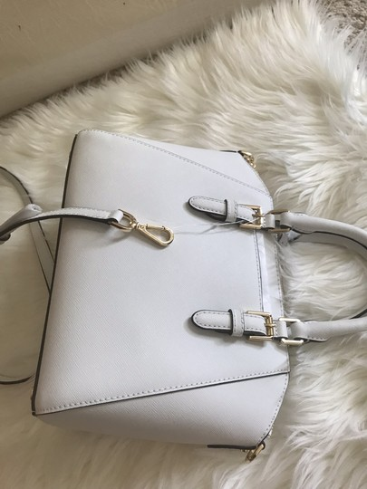 Michael Kors Ciara Medium Studded Ciara Satchel in White Image 7