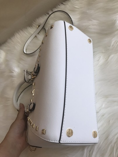Michael Kors Ciara Medium Studded Ciara Satchel in White Image 8