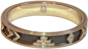 HOUSE HOUSE OF HARLOW 1960 Aztec Khaki Leather and 14kt Gold Plated Bangle