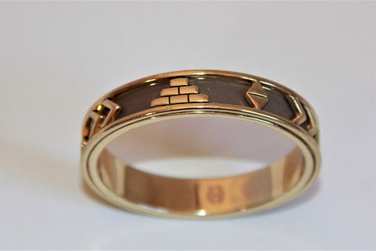 HOUSE HOUSE OF HARLOW 1960 Aztec Khaki Leather and 14kt Gold Plated Bangle Image 2