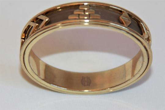HOUSE HOUSE OF HARLOW 1960 Aztec Khaki Leather and 14kt Gold Plated Bangle Image 3