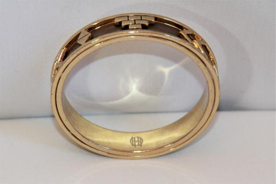 HOUSE HOUSE OF HARLOW 1960 Aztec Khaki Leather and 14kt Gold Plated Bangle Image 4