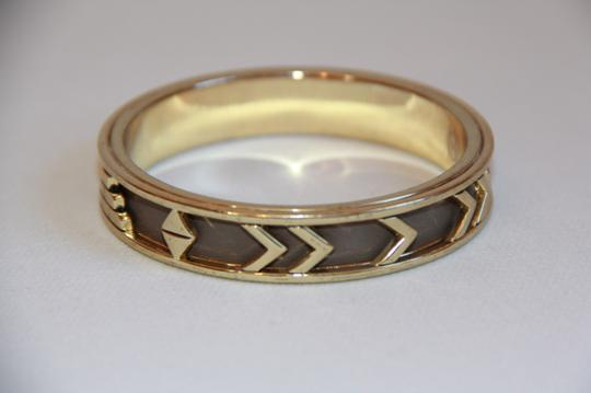 HOUSE HOUSE OF HARLOW 1960 Aztec Khaki Leather and 14kt Gold Plated Bangle Image 6