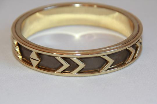 HOUSE HOUSE OF HARLOW 1960 Aztec Khaki Leather and 14kt Gold Plated Bangle Image 7