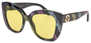 Gucci GUCCI 0327 Black Rainbow Glitter Stripe Cat Eye Yellow GG0327S