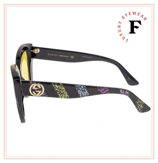 Gucci GUCCI 0327 Black Rainbow Glitter Stripe Cat Eye Yellow GG0327S Image 2