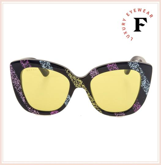 Gucci GUCCI 0327 Black Rainbow Glitter Stripe Cat Eye Yellow GG0327S Image 3