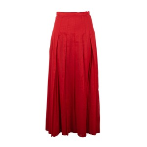 Valentino Cotton Pleated Long Maxi Skirt Red