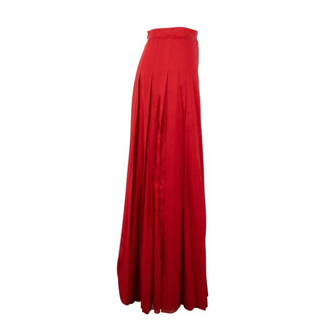 Valentino Cotton Pleated Long Maxi Skirt Red Image 1