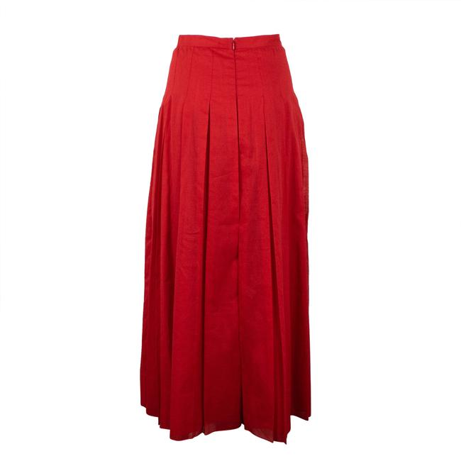 Valentino Cotton Pleated Long Maxi Skirt Red Image 2