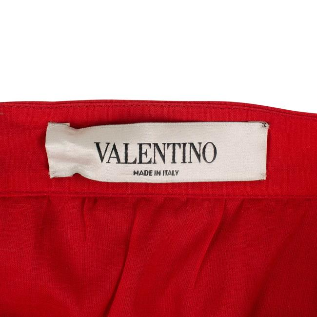 Valentino Cotton Pleated Long Maxi Skirt Red Image 3