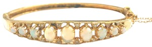 DeWitt's VINTAGE!! 14 Karat Yellow Gold Opal and Diamond Bangle Bracelet
