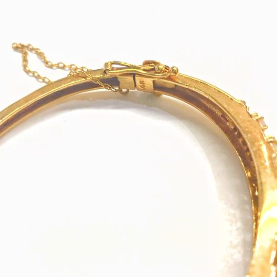 DeWitt's VINTAGE!! 14 Karat Yellow Gold Opal and Diamond Bangle Bracelet Image 3