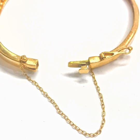 DeWitt's VINTAGE!! 14 Karat Yellow Gold Opal and Diamond Bangle Bracelet Image 4
