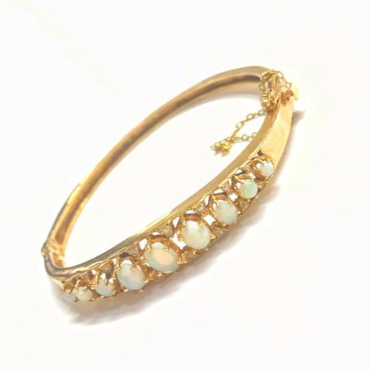 DeWitt's VINTAGE!! 14 Karat Yellow Gold Opal and Diamond Bangle Bracelet Image 5