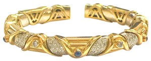 DeWitt's VINTAGE!! 18 Karat Yellow Gold Sapphire and Diamond Bangle Bracelet