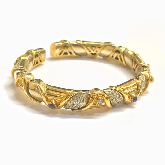 DeWitt's VINTAGE!! 18 Karat Yellow Gold Sapphire and Diamond Bangle Bracelet Image 1