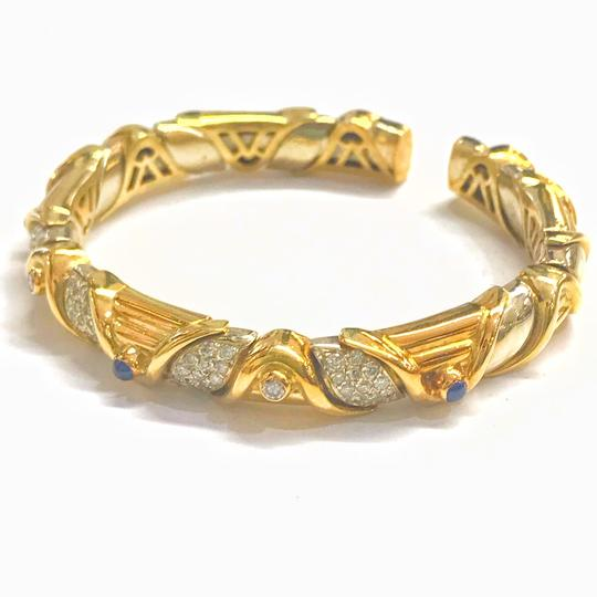 DeWitt's VINTAGE!! 18 Karat Yellow Gold Sapphire and Diamond Bangle Bracelet Image 2