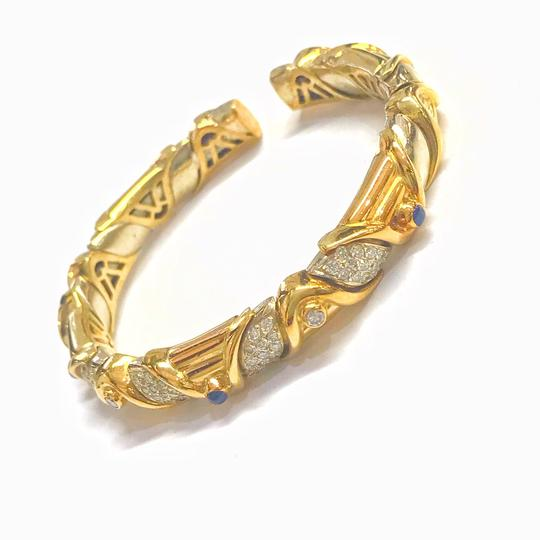 DeWitt's VINTAGE!! 18 Karat Yellow Gold Sapphire and Diamond Bangle Bracelet Image 3