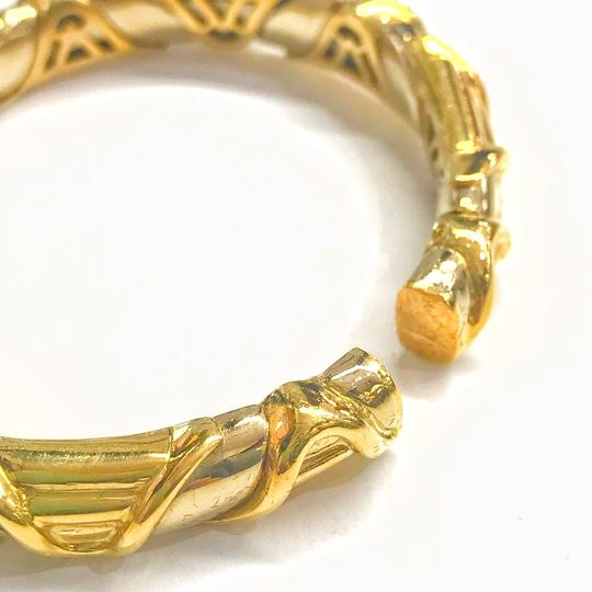 DeWitt's VINTAGE!! 18 Karat Yellow Gold Sapphire and Diamond Bangle Bracelet Image 4