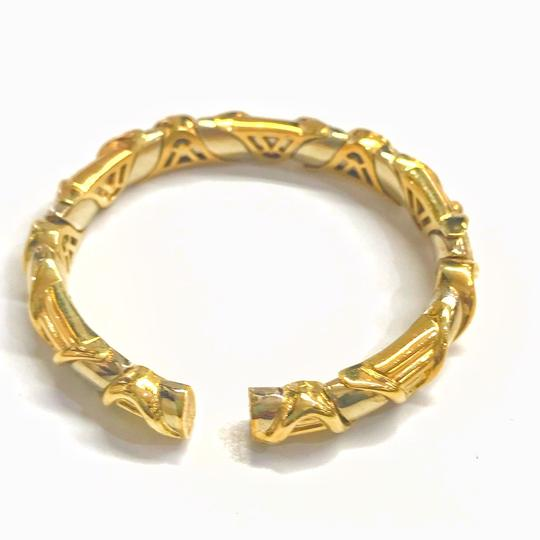 DeWitt's VINTAGE!! 18 Karat Yellow Gold Sapphire and Diamond Bangle Bracelet Image 5