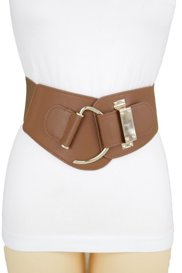 Alwaystyle4you Women Belt Wide Elastic Brown Hip Waist Gold Hook Buckle Size S M Image 1