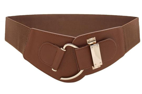 Alwaystyle4you Women Belt Wide Elastic Brown Hip Waist Gold Hook Buckle Size S M Image 2
