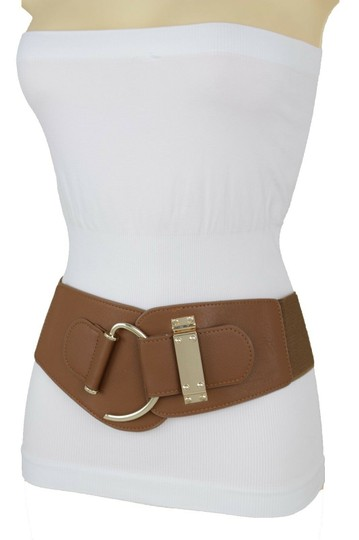 Alwaystyle4you Women Belt Wide Elastic Brown Hip Waist Gold Hook Buckle Size S M Image 5