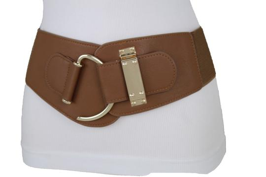 Alwaystyle4you Women Belt Wide Elastic Brown Hip Waist Gold Hook Buckle Size S M Image 6