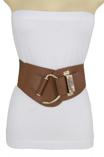 Alwaystyle4you Women Belt Wide Elastic Brown Hip Waist Gold Hook Buckle Size S M Image 7