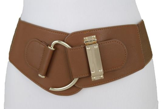 Alwaystyle4you Women Belt Wide Elastic Brown Hip Waist Gold Hook Buckle Size S M Image 8
