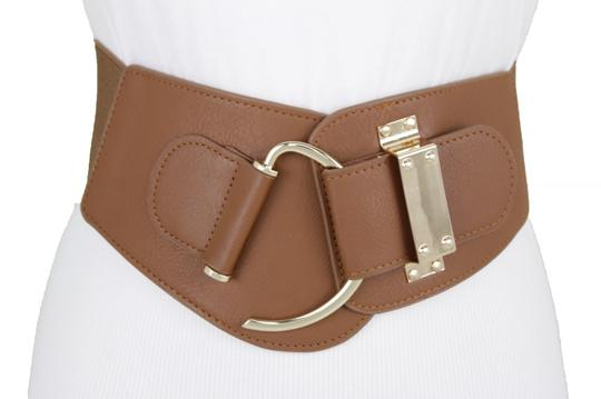 Alwaystyle4you Women Belt Wide Elastic Brown Hip Waist Gold Hook Buckle Size S M Image 9