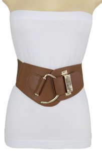 Alwaystyle4you Women Belt Wide Elastic Band Brown Hip Waist Gold Hook Buckle Size S M
