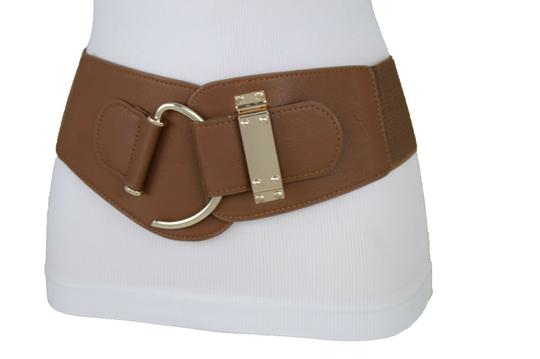 Alwaystyle4you Women Belt Wide Elastic Band Brown Hip Waist Gold Hook Buckle Size S M Image 2